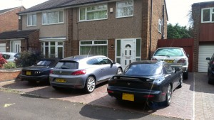 The line-up; the MX-5 BBR turbo, VW Scirocco, Mazda RX-7 and the girlfriend's Lexus RX300