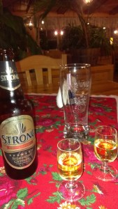 Polish vodka and Warka Strong dark beer