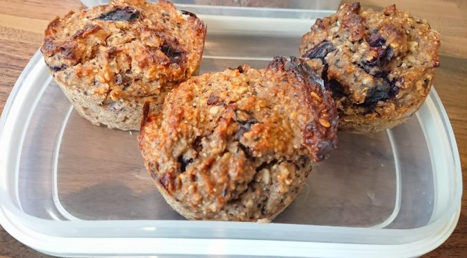 Strawberry cream & blueberry coconut protein muffins - ready to eat!